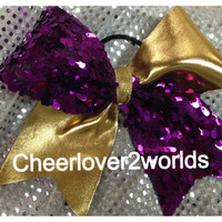 Gold Metallic/Purple Sequin Shiny Cheerleading Dance Ribbon