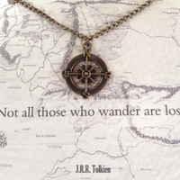 "Lord of the Rings Necklace ""Not all who wander are lost"" Compass Charm Tolkien Quote"