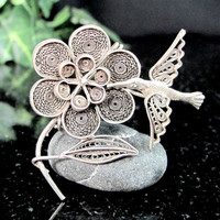 Vintage HUMMINGBIRD FLORAL FILIGREE Pin Silver Plated Figural Brooch
