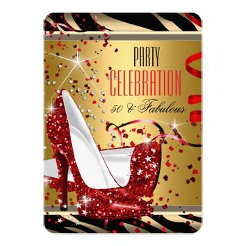 "Fabulous 50 Red Heels Zebra Gold Birthday Party 5"" X 7"" Invitation Card"