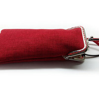 Red Eyeglasses Case - Reading glasses Case - Upholstery fabric - Kiss Lock Silver Frame