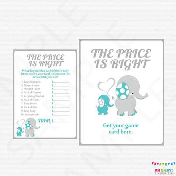 Teal and Grey Elephant Baby Shower Games, The Price is Right Baby Shower, Baby Shower Printables, Gender Neutral, INSTANT DOWNLOAD, ELTBG