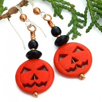 Halloween Pumpkin Earrings, Jack O Lantern Orange Black Handmade Jewelry for Women