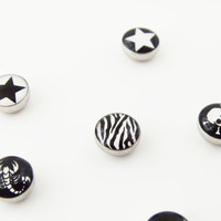 black white star skull scorpion zebra stripes magnet earrings without ear hole ear bones folder ear pendants clip trending gifts