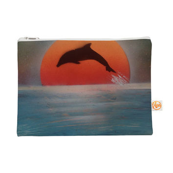 "Infinite Spray Art ""Dolphin Sunset"" Blue Gray Everything Bag"