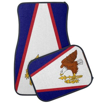 Patriotic set of car mats with Flag of Samoa