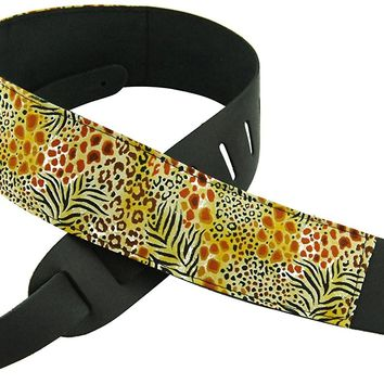 Perris Leathers P25M-12 2.5-Inch Leather Guitar Strap with Designer Fabric