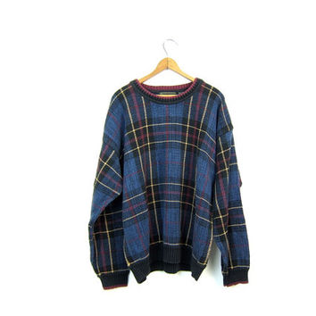 Preppy Plaid Sweater 90s Boyfriend Pullover Blue Green Pink 1990s Fall Crewneck Sweater Prep School Slouchy Vintage Sweater Hipster Girl XL