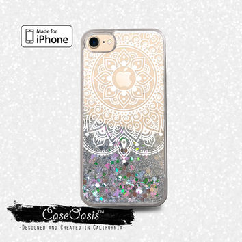White Lace Mandala Mehndi Henna Floral Liquid Glitter Sparkle Case for iPhone 6 and 6s iPhone 6 Plus and 6s Plus iPhone 7 and iPhone 7 Plus