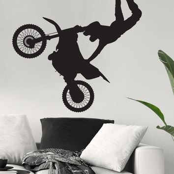 Dirt Bike Extreme Sports Motocross Bike Jump Wall Decal. Xtreme Flip. #138