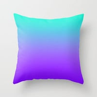 PURPLE & TEAL FADE Throw Pillow by nataliesales | Society6
