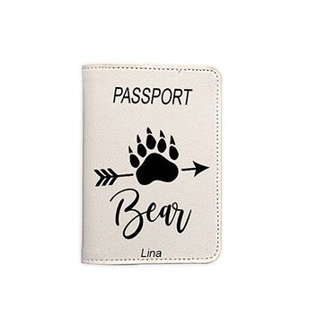 Mama Bear Customized Cute Leather Passport Holder - Passport Covers - Passport Wallet_SUPERTRAMPshop