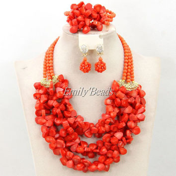 Stylish Nigerian Wedding African Real Coral Beads Necklace Bracelet Earrings Jewelry Set Bridal Jewelry Set Free Shipping CJ438