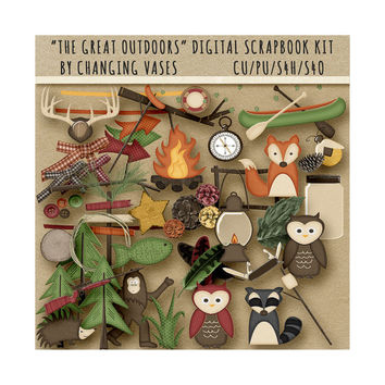 Digital Scrapbooking Kit, The Great Outdoors, Camping Clipart, Nature Clip Art Graphics, Hunting Elements, with Deer Owl Raccoon Fox, Trees
