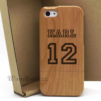 Baseball Jersey Personalized custom name and number wood print case, iPhone 5C 5S 5 wooden case, Samsung HTC wood case, FREE protector - W52