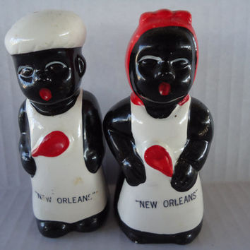 Vintage Black Americana Salt Pepper Shakers, Aunt Jemima Salt Pepper Shakers, New Orleans