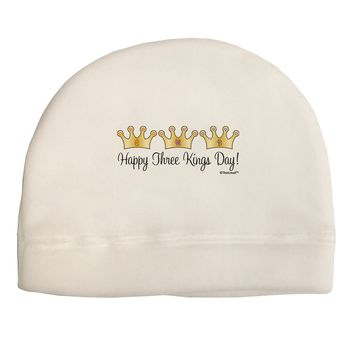 Happy Three Kings Day - 3 Crowns Adult Fleece Beanie Cap Hat by TooLoud