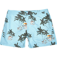 River Island MensBlue Jack & Jones Vintage palm tree shorts