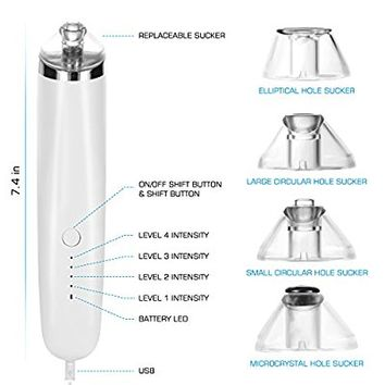 MEINAIER Blackhead Remover Tool Pore Vacuum Comedone Extractor Acne Comedo Suction Microdermabrasion Exfoliating Machine Rechargeable White Set