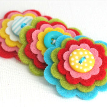 HOPE Felt Flowers, Felt Layered Appliques, Felt and Button Embellishments, Hair Clip Flowers, Set of 3