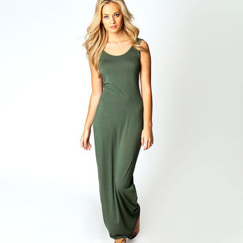 Solid Sleeveless Bodycon Maxi Dress