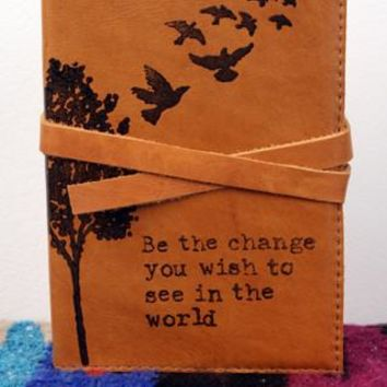 Be The Change - Tree with Birds Flying Away Leather Journal