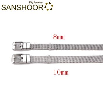 SANSHOOR 8mm/10mm Width Stainless Steel  Mesh Armband Keeper Bracelet For Women Toddler Diy Family Slide Charms Wristband Set