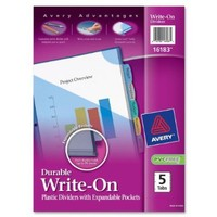 Avery Durable Write-On Plastic Dividers with Expandable Pockets, 5-Tabs, 1 Set (16183)