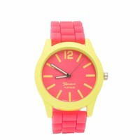 Two-Tone Neon Contrast Silicone Watch