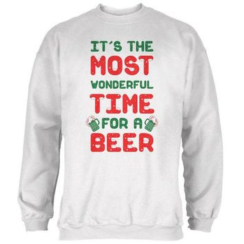 DCCKJY1 Christmas Most Wonderful Time for a Beer Mens Sweatshirt