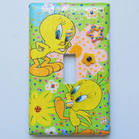 TWEETY Bird Embellished Light Switch Plate Cover -  Mini Vignette - One of a Kind - Great Gift
