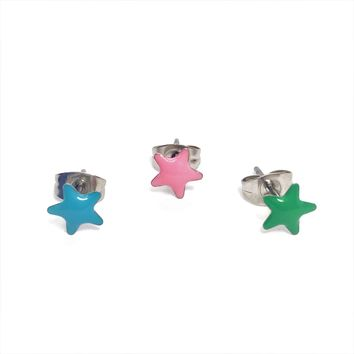 Stars Enamel Stainless Steel Studs for Woman or Man