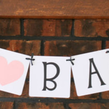 Oh Baby Banner with Pink Heart / Baby Girl / Baby Shower / Welcome Baby / Baby Shower Decor / Garland / Sign / Welcome Baby
