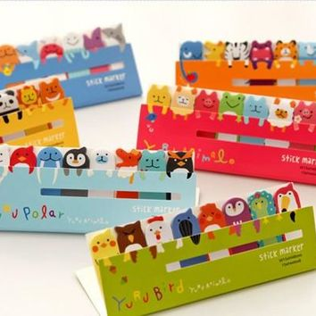 1 Pcs Cute Kawaii Planner Marker Animal Memo Pad Post It Sticky Notes School Office Supplies Stationery For Kids Students