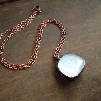 Selenite Necklace - Crystal Necklace - Tumbled Selenite - Healing Necklace - Copper Chain - Boho - Hippie Necklace