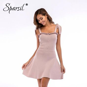 Sparsil Women Dress Female A Line Elegant Knit Dresses Lady Sexy Lace Up Party Sweaters Dress for Women Backless Dresses