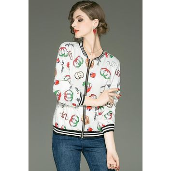 GUCCI Autumn Trending Women Stylish Print Long Sleeve Zipper Cardigan Jacket Coat