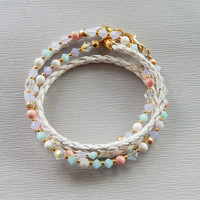 White leather pastel Swarovski crystal wrap bracelet Wowen white leather wrap bracelet