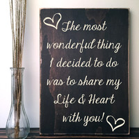 Custom Quote Sign: Dark Brown Wood Sign with Love Quote, Hand Painted