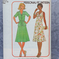 Vintage Personal Fit Bias Dress Pattern 1970s Dress, Unlined Jacket and Scarf Simplicity 7974, Size 14 and 16 Medium Large