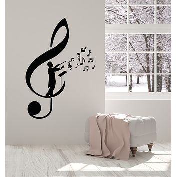 Vinyl Wall Decal Treble Clef Musical Notes Conductor Maestro Orchestra Stickers Mural (g686)