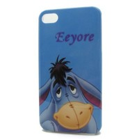 DD(TM) Style13 Animal Cute Blue Eeyore DonkeyHard Plastic Case Back Shell Protective Cover for Apple iPhone 4 4G 4S 4th Generation with 3D Silicone Bow-knot Anti-Dust Plug