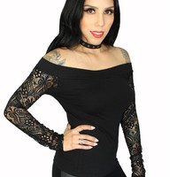 "Women's ""Layla"" Off Shoulder Lace Sleeve Tee by Demi Loon (Black)"