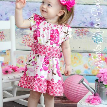 Girls Pink Floral Easter Dress, Baby Girls Easter Dress, Flower Girls Dress, Girls Dresses, Spring Dress