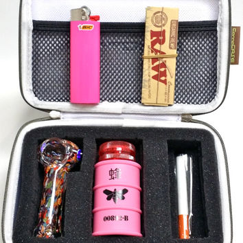 RIPD Chick Kit - CannaCASE Glass Pipe Case, Pink Breaking Bad Container, Tobacco Pipe, One Toke, BIC, RAW Rolling Papers, and Mini Grinder