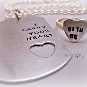 Hand Stamped Couple I Carry Your Heart With by DanielleJoyDesigns