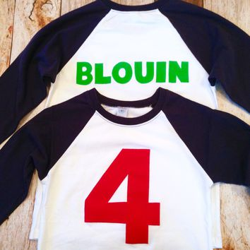 Custom boys birthday shirt Personalized Add NAME -Monogram, Nickname, Initials, letters Baseball Shirt top 100 boys girls baby names party