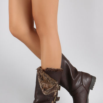 Qupid Folded Faux Fur Collar Buckle Mid Calf Boots