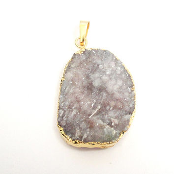 Grey Druzy Raw Crystal Gold Dipped Pendant, Large Teardrop Pendant With Loop, Select With Or Without Chain