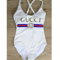 GUCCI Hot Sale Women Swimming Backless Cross One Piece Bikini Cotton Bodysuit B-KWKWM White